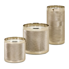 Imax Aluminum And Wax Set Of 3 Candle Holder With Gold Finish 14880-3