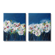 Multi-Color Abstract Floral Bouquet Flowers Nature Painting,2pc, each 24 x 30
