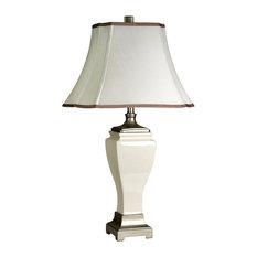 Table Lamp, Cream Crackle Finish, White Fabric Shade