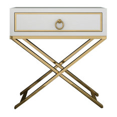 White Bedside Table Gold Storage Nightstand with Drawer Stainless Steel X Base