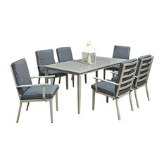 Home Styles South Beach 7 Piece Patio Dining Set in Gray