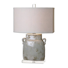 Wide Urn Distressed Gray Table Lamp