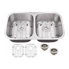"""Undermount 32.25"""" 50/50 Bowl 16-Gauge Stainless Steel Kitchen Sink"""