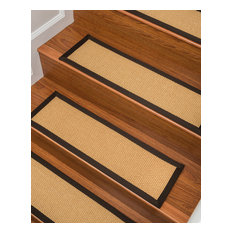 "Natural Area Rugs, Lowell Stair Treads Carpet, Fudge Border, 9"" X 29"" Set of 4"