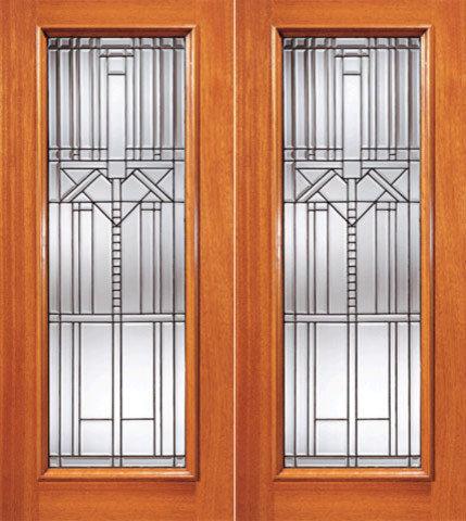 Decorative Beveled Glass Entry Double Door, Triple Glazed Glass Option   Front  Doors
