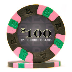 Pro Classic Style Poker Chips, $100, Black, Set of 50