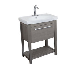 "Single Sink Vanity, 27.5"" Taupe With Ceramic Top, White"