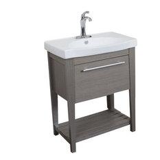 bellaterra single sink vanity 275 taupe with ceramic top white bathroom - Small Modern Bathroom Vanities