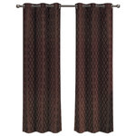 """Royal Tradition - Willow Thermal Blackout Curtains With Grommets, Set of 2, Chocolate, 84""""x63"""" - Add splendor and classiness to any room with these dazzling jacquard panels. The stylish geometric pattern of these floor-length curtains conveys a refined and classic look to your home. Containing a pole pocket design, these jacquard curtains are well-suited with traditional curtain rods, allowing you to change your room easily. This trendy and functional curtain panel pair is thermal-insulated, blocks out the glaring sunlight during the hot summer months, and keeps cold drafts adrift. Block unwanted light and protect your room against outside temperatures with these thermal blackout curtains. These energy saving curtains are both beautiful and practical. The simple, attractive styling complements any decor, and the grommet top offers easy installation. Slip a decorative rod through the grommets to quickly create a classic gathered look. The curtains are machine washable for easy care."""