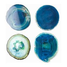 SoulMakes - Agate Coasters, Set of 4, Blue - Coasters