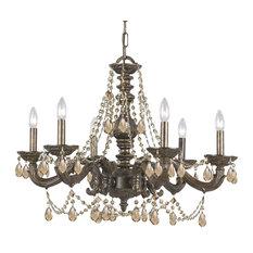 Crystorama Paris Market 6-Light Golden Teak Crystal Bronze Chandelier