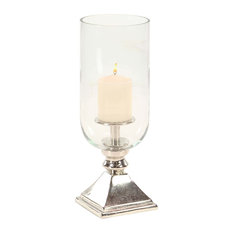 """Midcentury Aluminum and Glass Hurricane Candle Holder, Silver, 17"""""""
