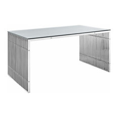 Contemporary Dining Table In Stainless Steel Silver Finish