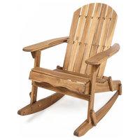 Vivian Outdoor Acacia Wood Adirondack Rocking Chair, Natural Stained, Single