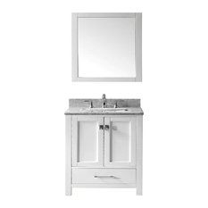 Eviva Aberdeen 30 Transitional White Bathroom Vanity White Carrera Countertop