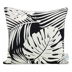 Black & White Fern Feather Filled Decorative Throw Pillow Cushion
