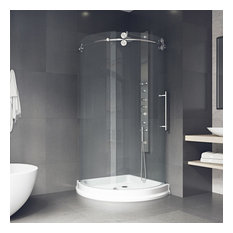 "40""x40"" Frameless Round 5/16"" Steel Shower, Right-Sided Door With White Base"