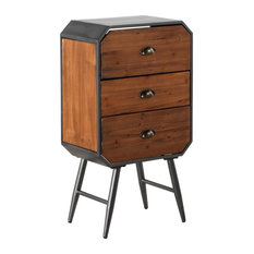 Pine and Iron Bedside Table, 3 Drawers