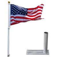 20' Telescopic Aluminum Flagpole Tire Mount Stand Bracket Kit w/ USA Flag Ball