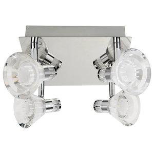 Bathroom IP44 Dimmable 4-Light LED Spotlight, Square Plate Chrome