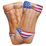 Jet Creations Inc. - Man and Woman Body Float, American Flag - JETSUP inflatable Hunk / Girl pool float limited patriotic edition features unique 2-in-1 design float, with a man on one side, and woman in bikini swimsuit on the other.