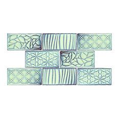 "SomerTile 3"" x 6"" Antic Sensations Ceramic Wall Tile, Agua Marina, Case of 32"
