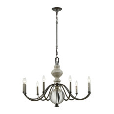 Modern Farmhouse 9 Light Chandelier in Aged Black Nickel Finish