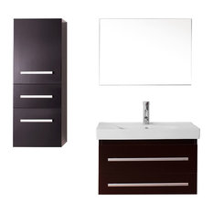 "Virtu Antonio 29"" Single Bathroom Vanity, Espresso, Faucet, Mirror"