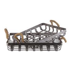 Ross 2-Piece Metal Basket Set, Galvanized Gray