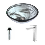 ANZZI Mezzo Series Deco-glass Vessel Sink In Slumber Wisp With Enti Faucet In Br