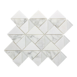 "10.875""x13"" Caroline Marble and Glass Mosaic Tile Sheet, White Carrara and White"