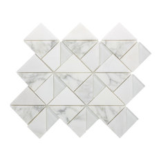 "10.875""x13"" Caroline Marble and Glass Mosaic Tile Sheet, White Carrara and White"