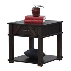 Rectangular End Table, Dark Pine