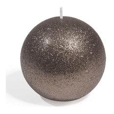 Vela bola con purpurina marrón