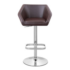 Modern Leatherette and Chrome Anders Barstool, Brown
