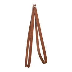 Leather Strap Wall Hanger, Cognac Brown, Nickel Rivet