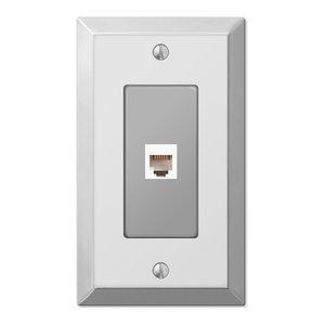 Century Polished Steel Phone Jack Wall Plate, Chrome
