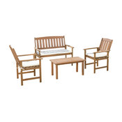 GDF Studio 4-Piece Shirley Outdoor Wood Chat With Cushions Set