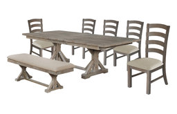 Hudson Weathered 7-Piece Dining Set with Bench, Beige