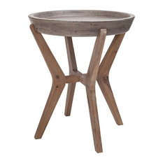 Round End/Side Table In Silver Brushed Wood Tone Waxed Concrete Finish With