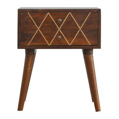 2-Drawer Bedside Table With Gold Wiring, Chestnut and Brass