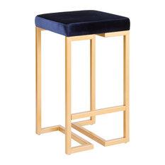 Lumisource Midas Counter Stools Gold Blue Velvet Cushion 26-inch Set Of 2