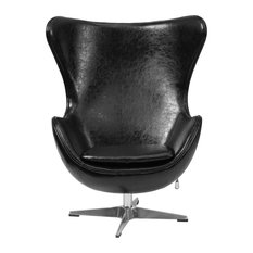 """Leather Egg Chair, Black, 33.75""""x30""""x43"""""""