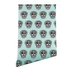Deny Designs Andi Bird Sugar Skull Fun Aqua Wallpaper, Blue, 2'x10'