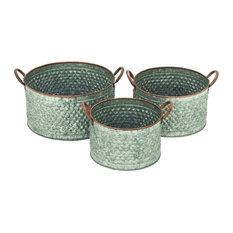 Galvanize Planters, 3-Piece Set