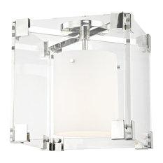 Achilles 1-Light Flush Mount, Nickel Finish, Opal Matte and Glass Shade