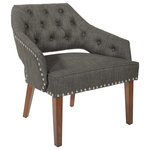 OSP Home Furnishings - Fabric Chair With Coffee Legs, Milford Asphalt - Our Reception Accent Chair by Work Smart offers a sophisticated style to any lobby reception area. Contoured back and curved armrests provide superior comfort for your guests. Attractive nailhead and piping details add to the impressive design. Covered in easy care fabric. Available in several color-ways. Solid wood legs finished in a medium pecan color complete this impressive design.