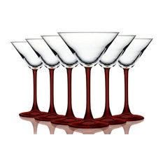 Martini 10 oz Accent Stem Wine Glasses Set of 6, Bottom Red