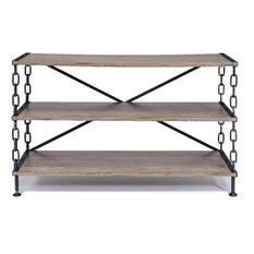 48-inchx18-inchx31-inch Rustic Oak And Antique Black Tv Stand
