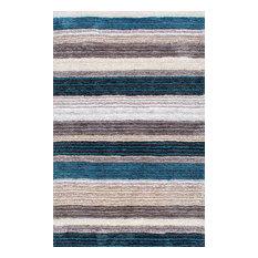 Hand-Tufted Striped Shaggy Plush Shag Rug, Blue, Multi, 12'x15'
